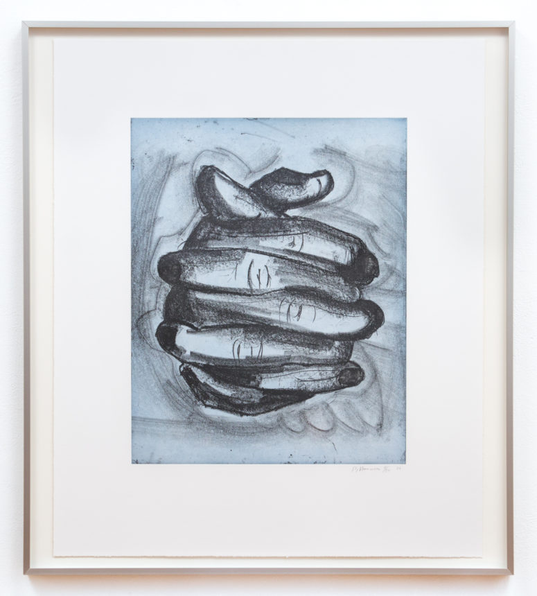 "Bruce Nauman, Soft Ground Etching - Blue, 2007, 2 Color Etching, 33 1/2"" x 28"", Edition 11/50"