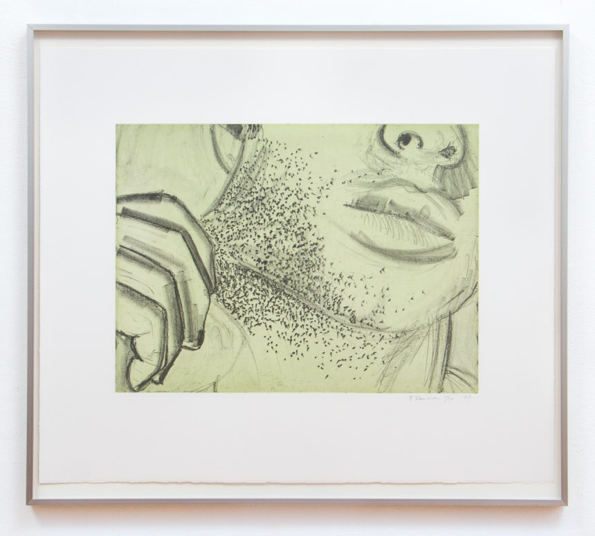 "Bruce Nauman, Soft Ground Etching - Green, 2007, 2 Color Etching, 29 3/4"" x 34 1/4"", Edition 11/50"